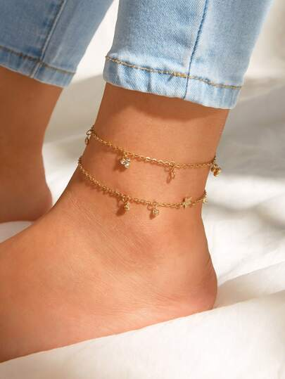 Rhinestone Engraved Star Chain Anklet 2pcs