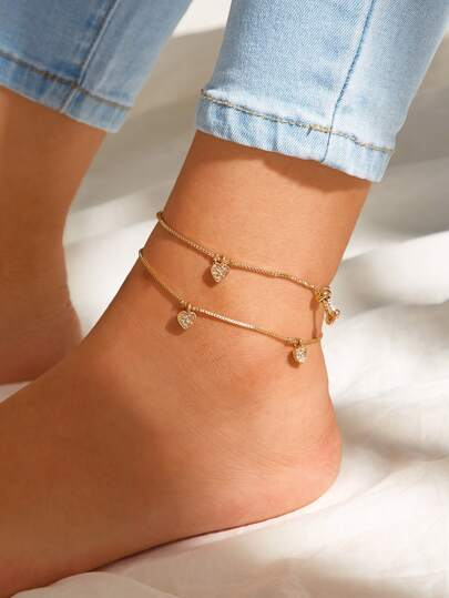 Rhinestone Engraved Heart Chain Anklet 2pcs