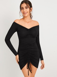 Off-Shoulder Drawstring Front Ruched Dress