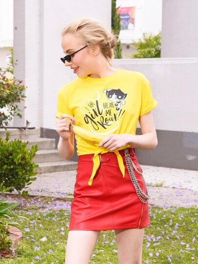 Powerpuff Girls x ROMWE Letter & Cartoon Print Knot Hem Tee
