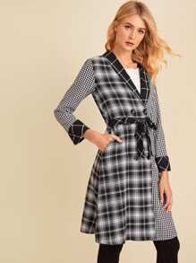 Self Tie Plaid Pea Coat
