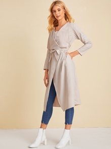 Waterfall Neck Belted Outerwear