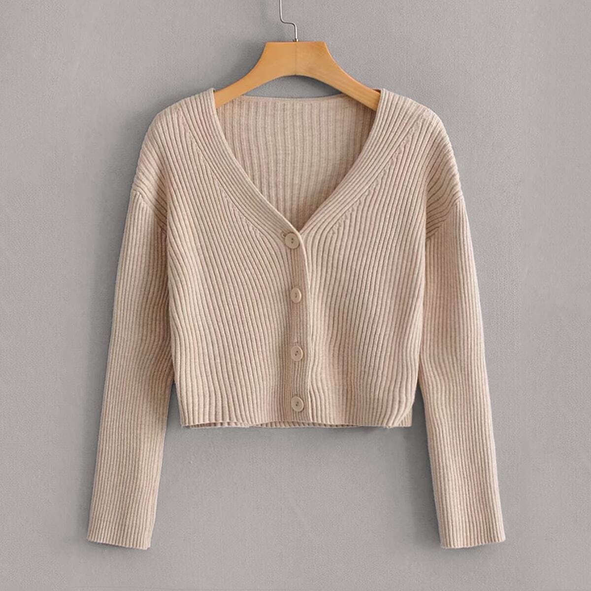 Button Front Rib-knit Solid Cardigan