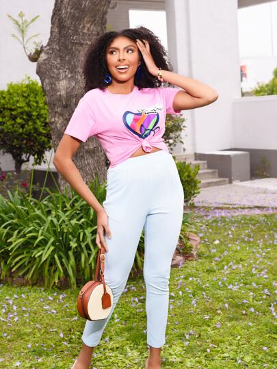 Powerpuff Girls x ROMWE Slogan & Heart Print Tee