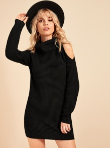 High Neck Cold Shoulder Sweater Dress