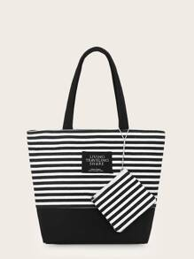 Striped Canvas Tote Bag With Coin Case