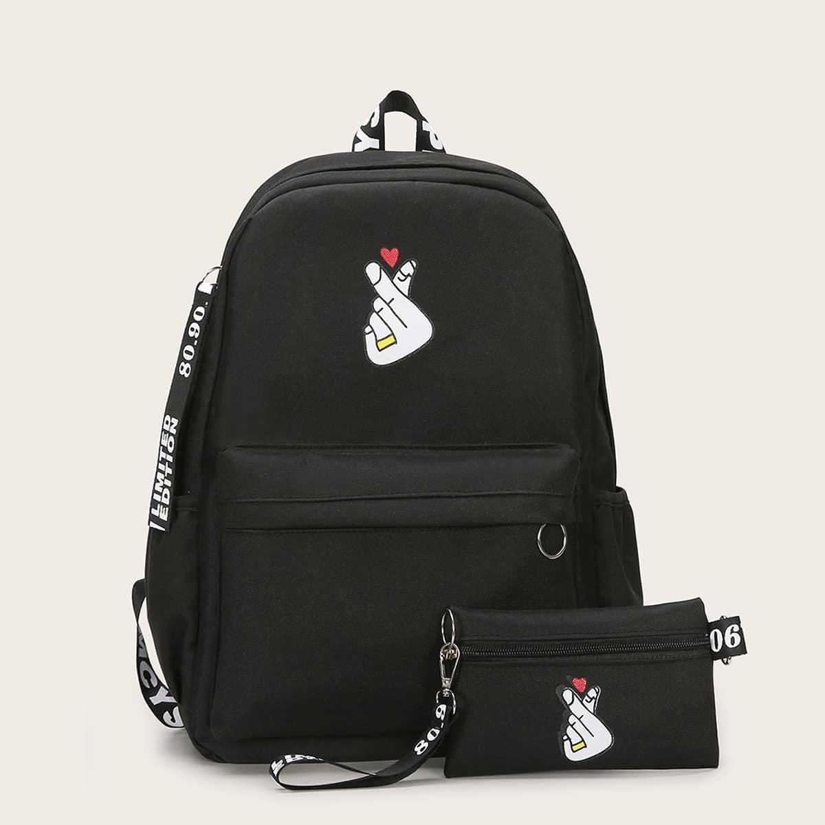 Рюкзак с графическим принтом и клатчом