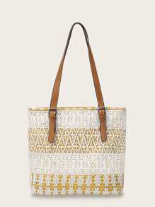 Buckle Strap Crochet Tote Bag