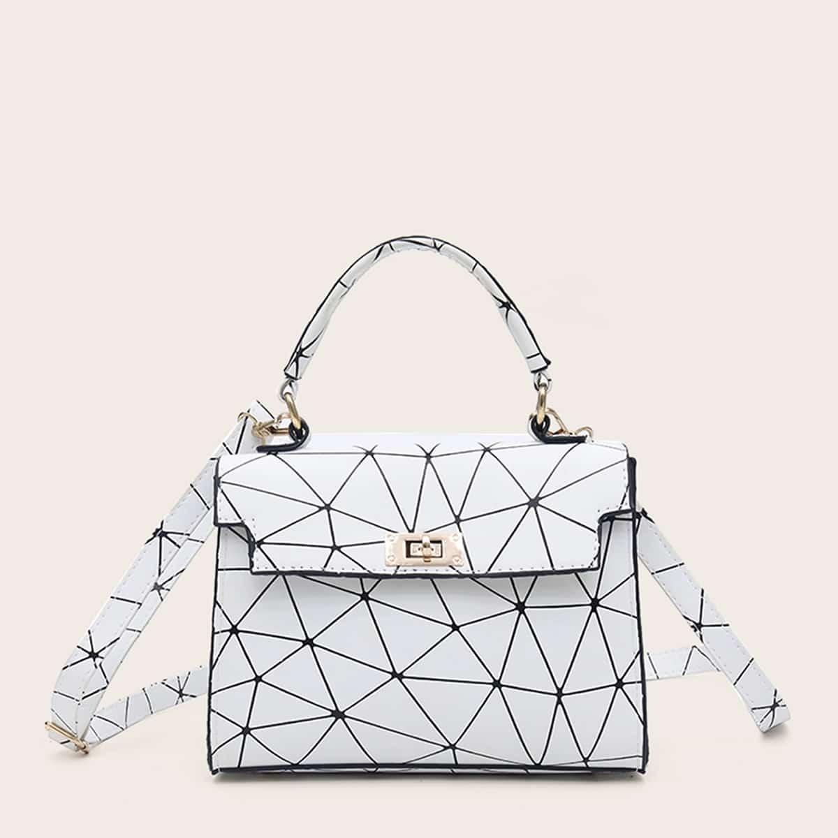 Сумка-портфель с геометрическим принтом
