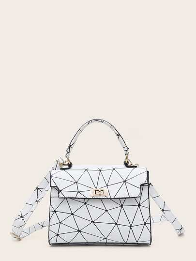 Geometric Print Satchel Bag