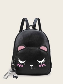 Cartoon Print Pocket Front Backpack