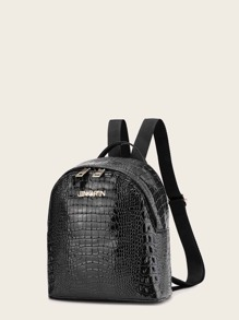 Croc Embossed Curved Top Backpack