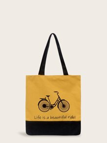 Slogan Print Shopper Bag