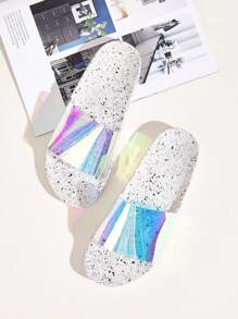 Open Toe Iridescent Sliders