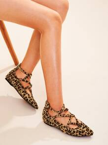 Point Toe Leopard Print Flats