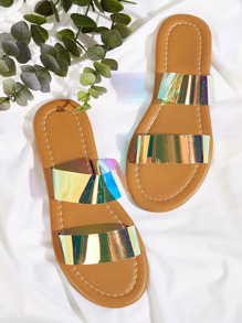 Double Iridescent Strap Flat Sliders