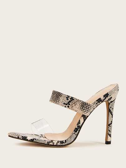 Double Strap Snakeskin Stiletto Heeled Mules