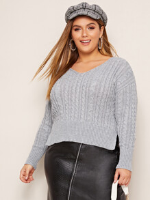 Plus Side Slit Hem Rib-Knit Sweater