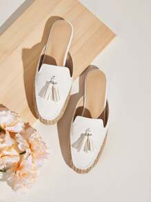 Tassel Decor Woven Splicing Flat Mules