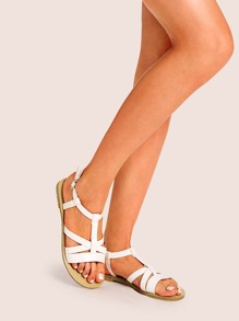Cross Ankle Strap Flat Sandals