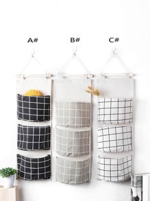 Grid Pattern Wall Hanging Storage Bag 1pc