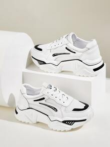 Lace-up Front Chunky Sole Mesh Sneakers