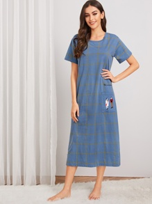 Cartoon Graphic Plaid Night Dress
