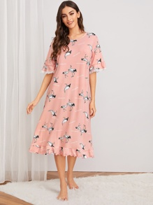 Crane Print Lace Trim Ruffle Night Dress