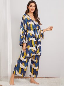 Crane Print Cami Pajama Set With Robe