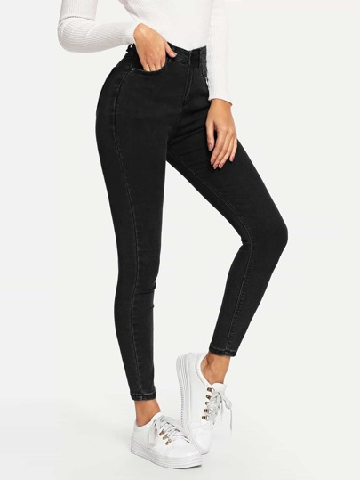 Plain Pocket Side Skinny Jeans