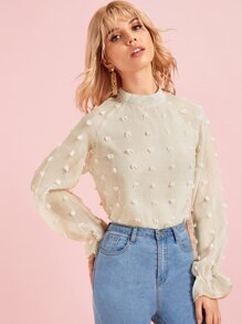 Swiss Dot Mock Collar Blouse