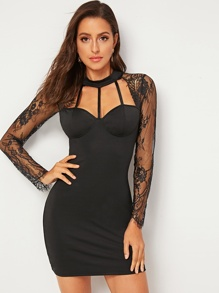 Contrast Lace Cut Out Bodycon Dress
