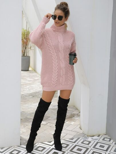 Solid Cable-knit High Neck Sweater Dress
