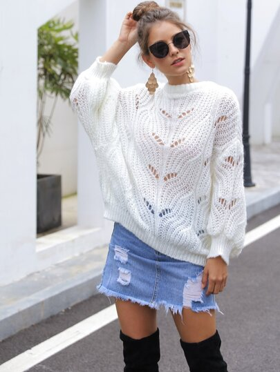 Solid Hollow Out Drop Shoulder Sweater