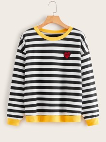 Striped Embroidery Ringer Sweatshirt
