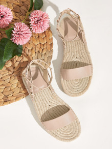 Open Toe Studded Espadrille Sandals