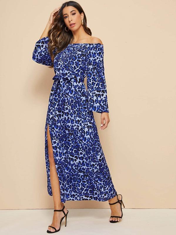 8f633cdad63 Tie Dye Split Thigh Off Shoulder Dress