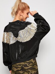 Sequin Contrast Wing Back Bomber Jacket