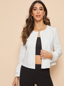 Single Button Peplum Hem Jacket
