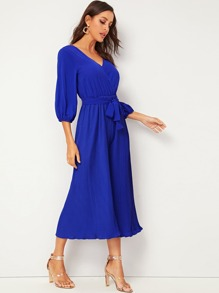 Pleated V Cut Back Belted Chiffon Jumpsuit