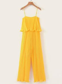 Lettuce Frill Pleated Cami Jumpsuit