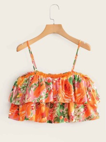 Floral Print Tiered Layer Cami Top