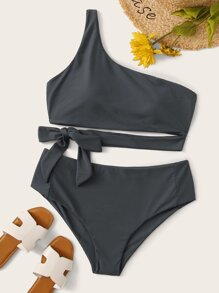 Plus Tie Waist One Shoulder Bikini Set