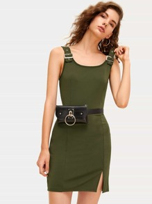 Split Front Metal Buckle Tank Dress Without Bag