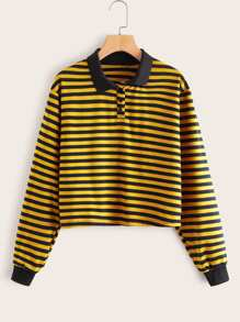 Contrast Trim Button Front Striped Sweatshirt