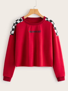 Contrast Panel Checker & Letter Print Sweatshirt