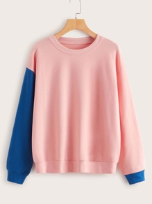 Round Neck Contrast Panel Sweatshirt