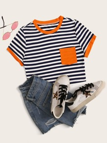 Contrast Trim Striped Pocket Patch Tee