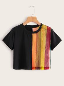 Contrast Colorful Striped Fishnet Tee