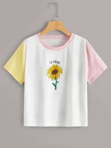 Contrast Panel Sunflower & Letter Print Tee